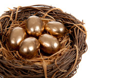 Gold eggs in a nest on a white background Stock Photos