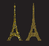 Gold Eiffel Tower consisting of small gold hearts and Eiffel Tow Royalty Free Stock Photography