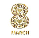 Gold eight of circles and hearts. March 8. Vector illustration.  Royalty Free Stock Photography