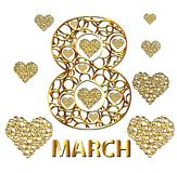 Gold eight of circles and hearts. March 8. Vector illustration.  stock illustration