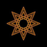 Gold eight-pointed star on black background. Vector illustration. Corporate icon such as logotype and logo design template. Gold o Royalty Free Stock Photo