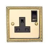 Gold Electric Socket Royalty Free Stock Photos