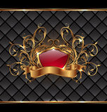 Gold elegance frame with heraldic shield Royalty Free Stock Image