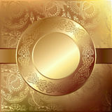 Gold elegant flower background with a lace pattern Stock Photos