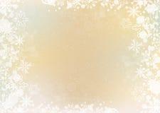 Gold elegant winter background with snowflake border Stock Photo