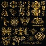 Gold elements on black background. set2 Stock Photo