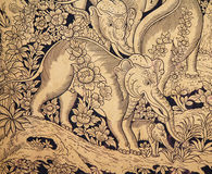 Gold elephant paint. Of public church door Royalty Free Stock Photo