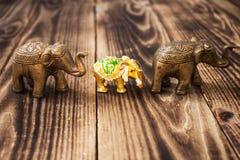 Gold elephant with stones handmade Stock Photos