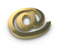 Gold email symbol. 3d gold email at symbol isolated on a white background with subtle shadow Stock Photography