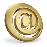 Gold AT email symbol. Isolated on white background. 3D rendering Royalty Free Stock Photography