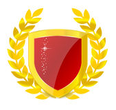 Gold emblem of colorful shield Royalty Free Stock Photo