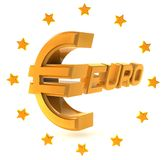 Gold emblem euro isolated on a white background Royalty Free Stock Photos