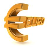 Gold emblem euro isolated on a white background Royalty Free Stock Images