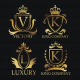 Gold emblem icon set design Royalty Free Stock Images