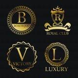 Gold emblem icon set design Stock Image