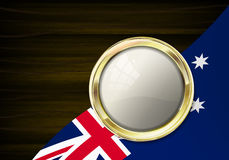 Gold emblem with shine and reflection. Emblem in gold frame for Stock Photo
