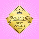 Gold Emblem Topped by Crown Premium Quality Icon. Gold emblem topped by crown premium quality best guarantee sticker award, vector illustration certificate label Stock Image