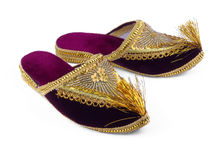Gold embroidered shoes Royalty Free Stock Photos