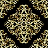 Gold embroidery damask seamless pattern. Vector ornamental textured background. Tapestry golden floral 3d ornaments. Embroidered vintage flowers. Decorative Stock Images