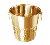 Gold empty bucket for champagne bottle isolated on a white Stock Photo