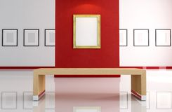 Gold empty frame on red wall. Art gallery with old gold empty frame -rendering Stock Photography