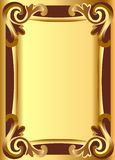 Gold(en) background frame with vegetable ornament Stock Images