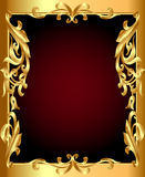 Gold(en) frame with gold(en) vegetable ornament Stock Photography