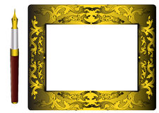 Gold(en) frame and handle with feather Royalty Free Stock Photo
