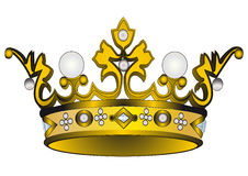 Gold(en) royal crown. Illustration gold(en) royal crown insulated on white background Stock Photo