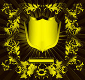 The Gold(en) shield with ornament Royalty Free Stock Images