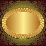Gold end brown background. With floral ornaments and copy space Stock Image