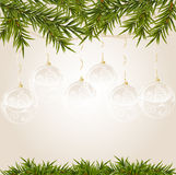 Gold end withe transparent Christmas ball Stock Image