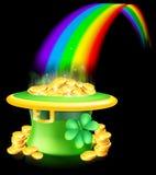 Gold am Ende des Regenbogens Stockbild