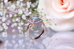 Gold Engagement Ring Royalty Free Stock Photography