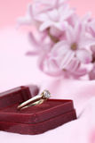 Gold engagement ring Royalty Free Stock Photo