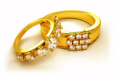 Gold Engagement Ring Stock Images