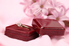 Gold engagement ring with diamond Royalty Free Stock Photo