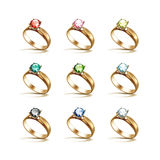 Gold Engagement Rings Red Pink Blue Green Black White Diamonds Royalty Free Stock Photo
