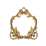 Gold engraved. 3d gold ornament in the form of woodcarving Royalty Free Stock Photography