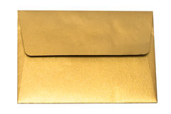 Gold envelope isolated Stock Images