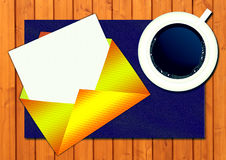 Gold envelope, letter and coffee royalty free illustration