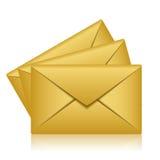 Gold envelopes Royalty Free Stock Photography