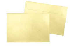 Gold envelopes isolated on white background Stock Photo