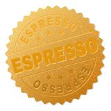 Gold-ESPRESSO Medaillen-Stempel stock abbildung