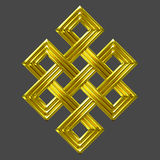 Gold eternal knot charm symbol. Luxury golden endless knot (Eternal knot) is a cultural symbol across Buddhism, Tibet and Chinese Art with the Meaning of Karma Royalty Free Stock Photography
