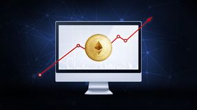 Gold ethereum coin with bull stock chart. Golden ethereum coin with bull trading stock chart and rising arrow on computer. Ethereum blockchain token grows in Stock Photo