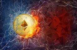 Gold ethereum coin hard fork in fire flame, lightning and water splashes. Golden ethereum coin in fire flame, water splashes and lightning. Ethereum blockchain Royalty Free Stock Photos