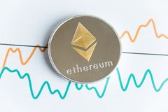 Gold ethereum cryptocurrency coin on spiking line graph trading Stock Photo