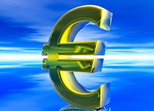 Gold EU Euro Currency Symbol Royalty Free Stock Photos