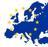 Gold-Eu-Sterne auf blauem Europa Lizenzfreie Stockfotografie